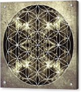 Flower Of Life Silver Acrylic Print by Filippo B