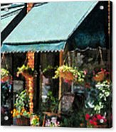 Flower Shop With Green Awnings Acrylic Print by Susan Savad
