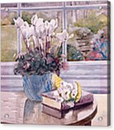 Flowers And Book On Table Acrylic Print by Julia Rowntree