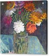 Flowers And Glass Acrylic Print by Terry Perham