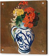 Flowers In A Blue Vase Acrylic Print by Odilon Redon