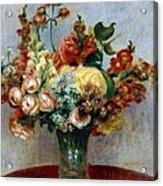 Flowers In A Vase Acrylic Print by Pierre-Auguste Renoir