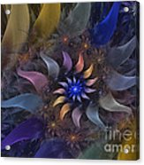 Flowery Fractal Composition With Stardust Acrylic Print by Karin Kuhlmann