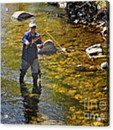 Fly Fishing For Trout Acrylic Print by Nava Thompson