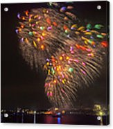 Flying Feathers Of Boston Fireworks Acrylic Print by Sylvia J Zarco