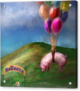 Flying Pig - Child - How I Wish I Were A Bird Acrylic Print by Mike Savad