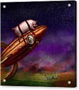 Flying Pig - Rocket - To The Moon Or Bust Acrylic Print by Mike Savad