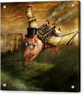 Flying Pig - Steampunk - The Flying Swine Acrylic Print by Mike Savad
