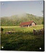 Foggy Barn Acrylic Print by Marty Koch
