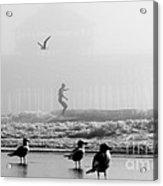 Folly Beach Pier Foggy Day Surf Acrylic Print by Dustin K Ryan