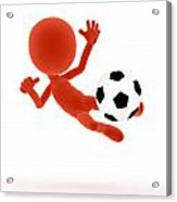 Football Soccer Shooting Jumping Pose Acrylic Print by Michal Bednarek