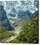 Forest And Mountains In Himalayas Acrylic Print by Raimond Klavins
