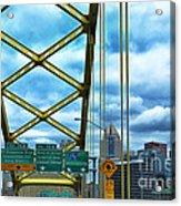 Fort Pitt Bridge And Downtown Pittsburgh Acrylic Print by Thomas R Fletcher