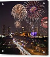 Fort Worth Skyline At Night Fireworks Color Evening Ft. Worth Texas Acrylic Print by Jon Holiday