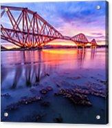 Forth Rail Bridge Stunning Sunrise Acrylic Print by John Farnan