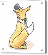 Fox In Top Hat Acrylic Print by Christy Beckwith