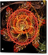 Fractal - Abstract - Mardi Gras Molecule Acrylic Print by Mike Savad