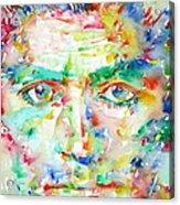 Franz Kafka Watercolor Portrait Acrylic Print by Fabrizio Cassetta