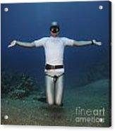 Freediver Underwater Acrylic Print by Hagai Nativ