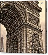 French - Arc De Triomphe And Eiffel Tower IIi Acrylic Print by Lee Dos Santos