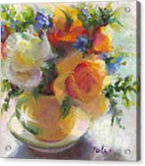 Fresh - Roses In Teacup Acrylic Print by Talya Johnson