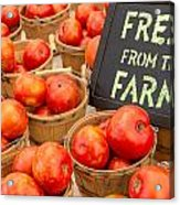 Fresh Tomatoes In Baskets At Farmers Market Acrylic Print by Teri Virbickis