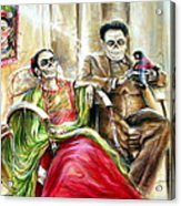 Frida And Diego With Pet Monkey Acrylic Print by Heather Calderon