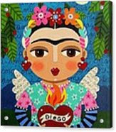 Frida Kahlo Angel And Flaming Heart Acrylic Print by LuLu Mypinkturtle