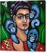 Fridas Triplets Acrylic Print by Victoria De Almeida