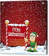 Frohe Weihnachten Sign Christmas Elf Winter Landscape Acrylic Print by Frank Ramspott