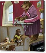 Front Room Bear Family Son Playing Computer Game Acrylic Print by Martin Davey