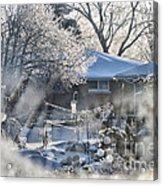 Frosty Winter Window Acrylic Print by Thomas Woolworth