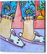 Funny Bunny Slippers Acrylic Print by Debi Starr