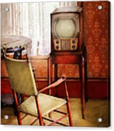 Furniture - Chair - The Invention Of Television  Acrylic Print by Mike Savad
