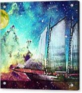 Galileo's Dream - Schooner Art By Sharon Cummings Acrylic Print by Sharon Cummings