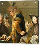 Gamblers In The Foyer Acrylic Print by Johann Heinrich Tischbein
