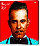 Gangman Style - John Dillinger 13225 - Red - Color Sketch Style - With Text Acrylic Print by Wingsdomain Art and Photography