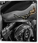 Gas Tank Pin Up Girl Acrylic Print by Jeff Swanson