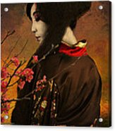Geisha With Quince - Revised Acrylic Print by Jeff Burgess
