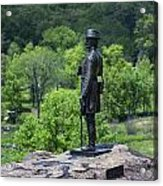 General Kemble Warren At Little Round Top Acrylic Print by John Greim