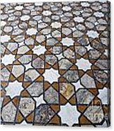 Geometric Marble Floor Design At Lahore Fort Acrylic Print by Robert Preston