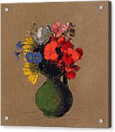 Geraniums And Flowers Of The Field Acrylic Print by Odilon Redon