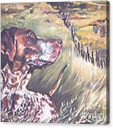 German Shorthaired Pointer And Pheasants Acrylic Print by Lee Ann Shepard