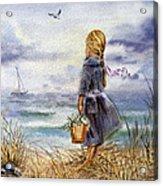 Girl And The Ocean Acrylic Print by Irina Sztukowski