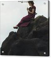 Girl On A Rock Acrylic Print by Joana Kruse