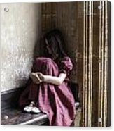 Girl On Pew Acrylic Print by Joana Kruse