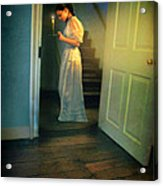 Girl With A Candle Acrylic Print by Jill Battaglia