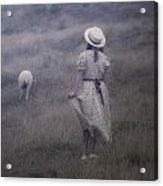 Girl With Sheeps Acrylic Print by Joana Kruse