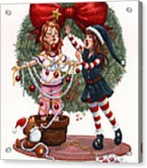 Girls Decorating For Christmas Acrylic Print by Isabella Kung