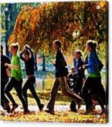 Girls Jogging On An Autumn Day Acrylic Print by Susan Savad